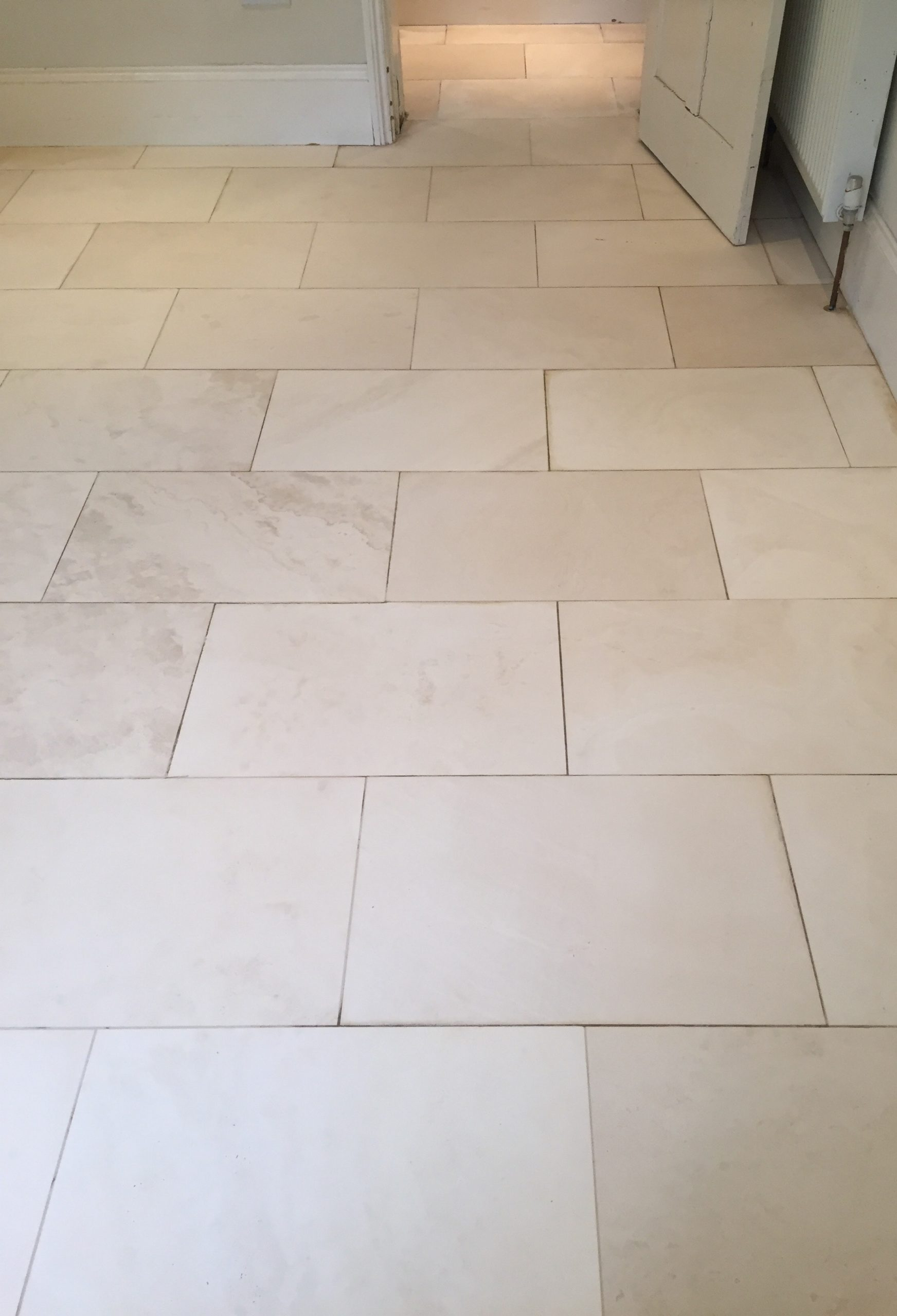 Deep Cleaning White Limestone Tiles in a Oxfordshire Kitchen ...