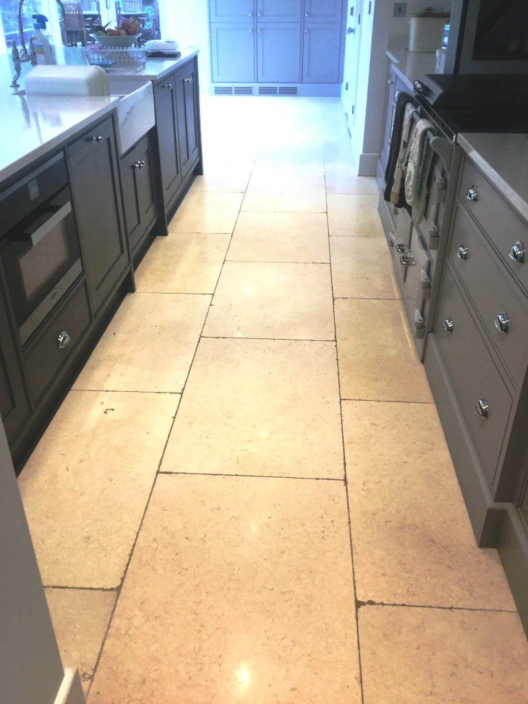 Removing Grout Haze From Limestone Kitchen Floor Tiles In