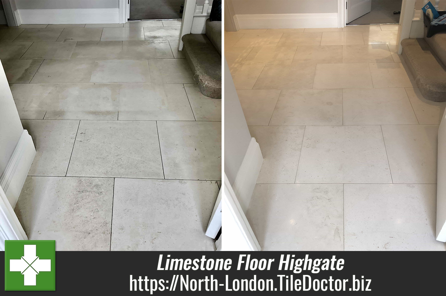 Limestone Floor Before After Renovation Highgate